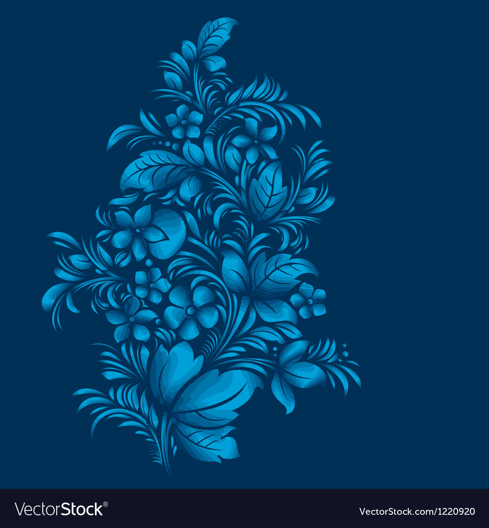 Blue flower ornament gzhel russian style vector | Price: 1 Credit (USD $1)