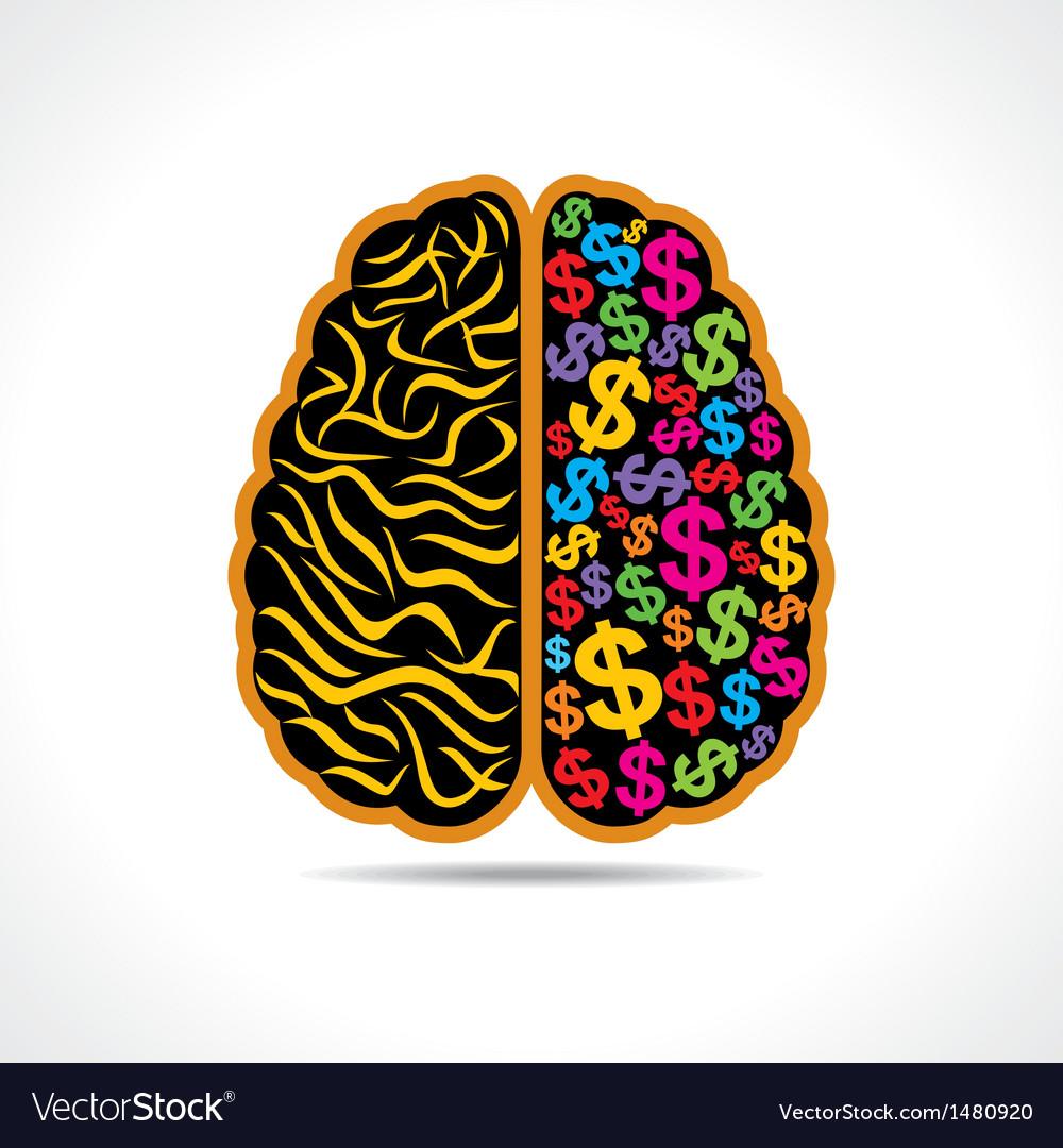 Conceptual idea -brain with dollar symbol vector | Price: 1 Credit (USD $1)