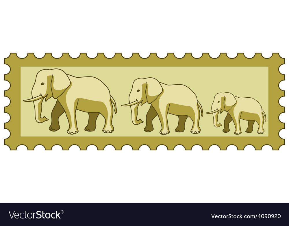 Elephants on stamp vector | Price: 1 Credit (USD $1)