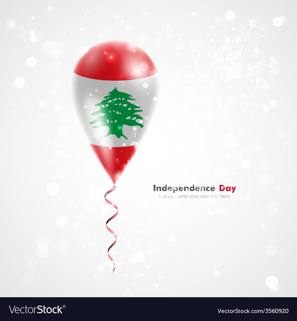 Flag of lebanon on balloon vector | Price: 1 Credit (USD $1)