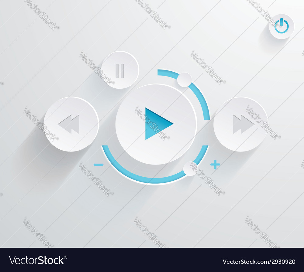 Flat multimedia player for web and mobile apps vector | Price: 1 Credit (USD $1)