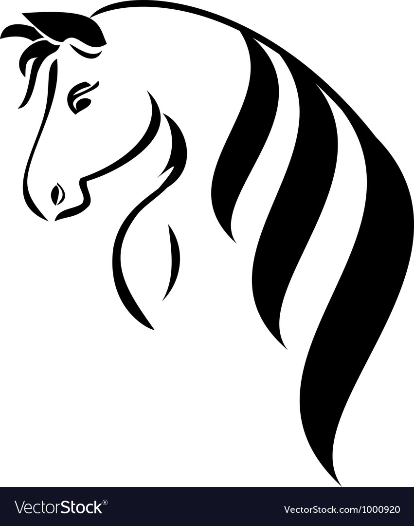 Head horse with beauty hair l vector | Price: 1 Credit (USD $1)