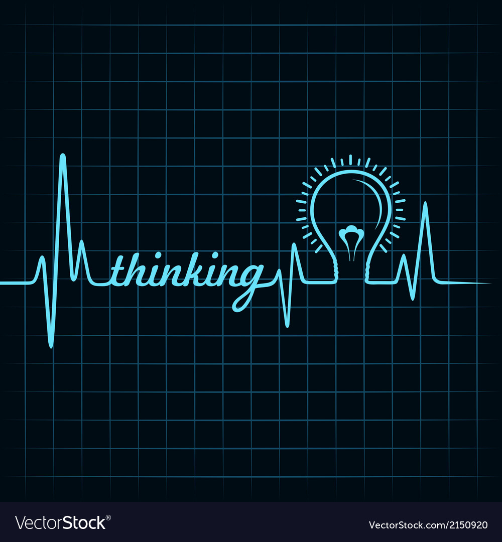 Heartbeat make thinking word and light-bulb vector | Price: 1 Credit (USD $1)