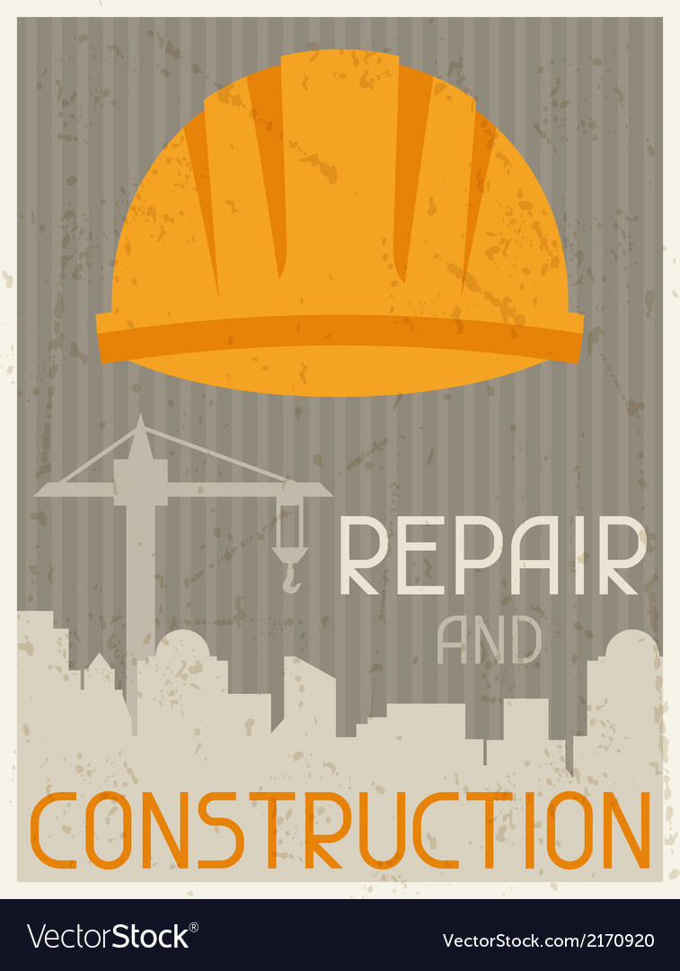 Repair and construction retro poster in flat vector | Price: 1 Credit (USD $1)