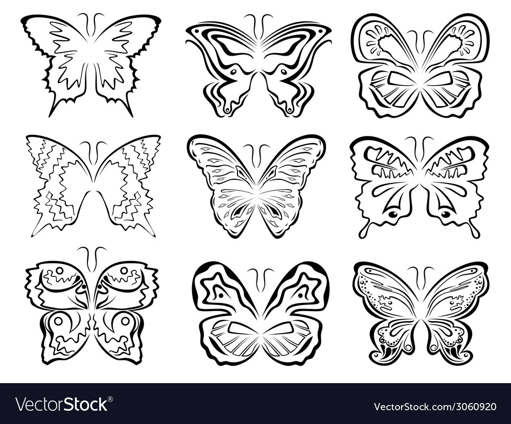 Set of six black butterflies contours over white vector | Price: 1 Credit (USD $1)