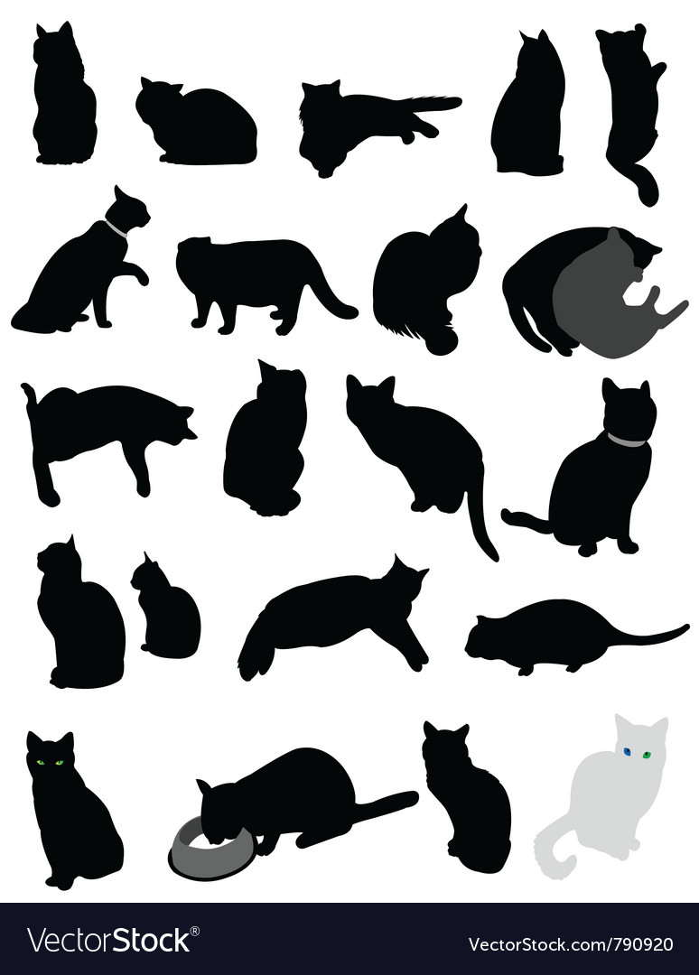 Silhouette cats vector | Price: 1 Credit (USD $1)