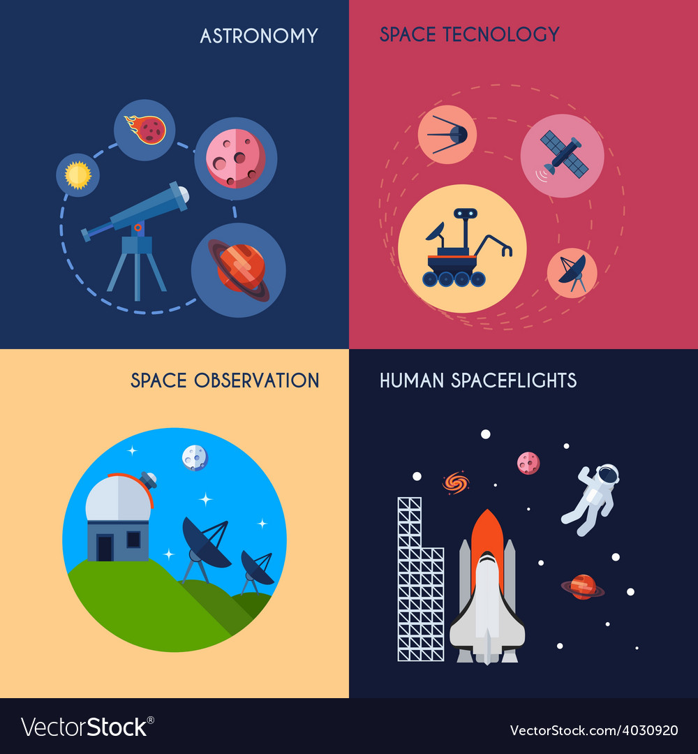 Space icons flat vector | Price: 1 Credit (USD $1)