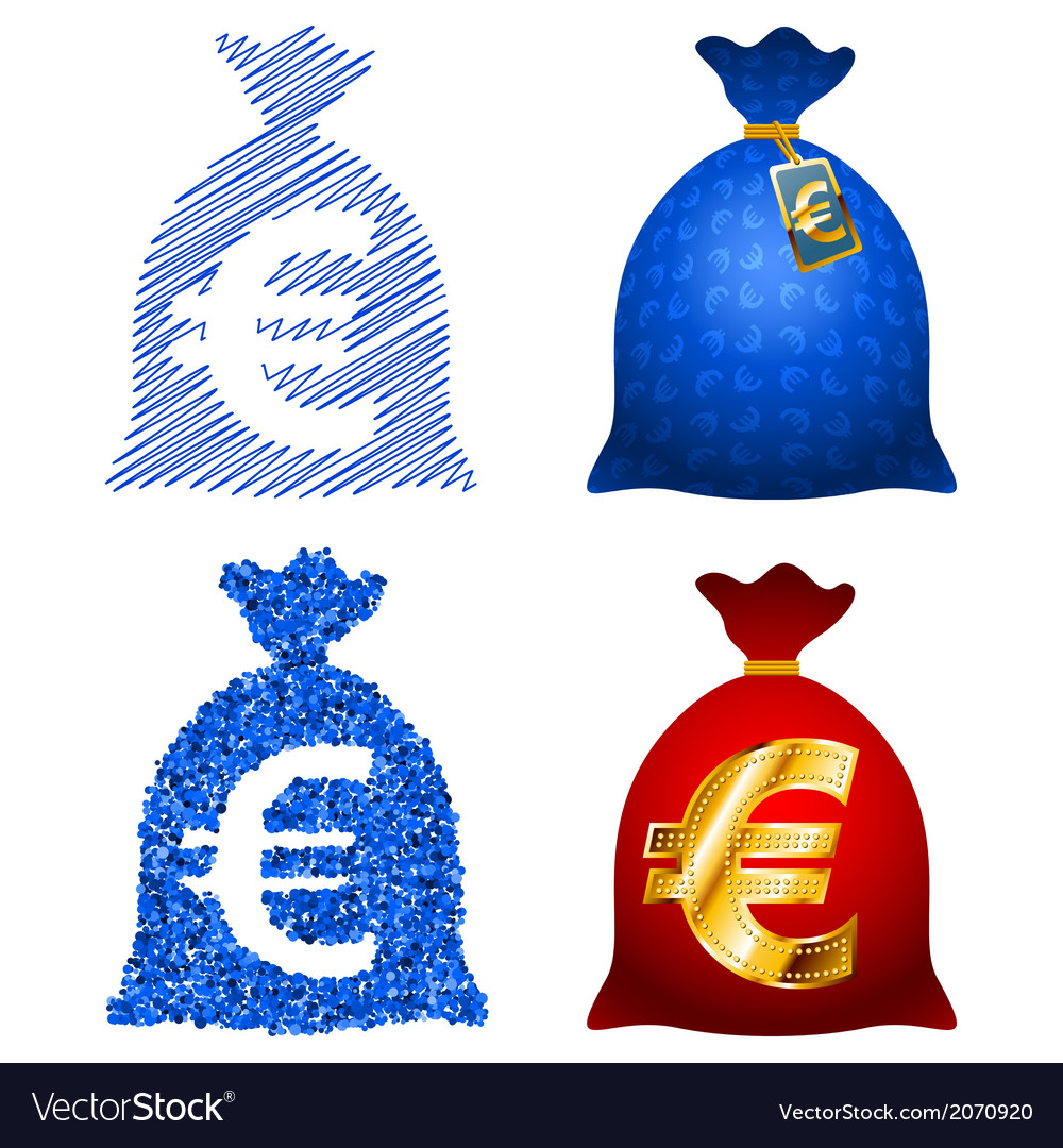 Variations currency sack euro eur vector | Price: 1 Credit (USD $1)