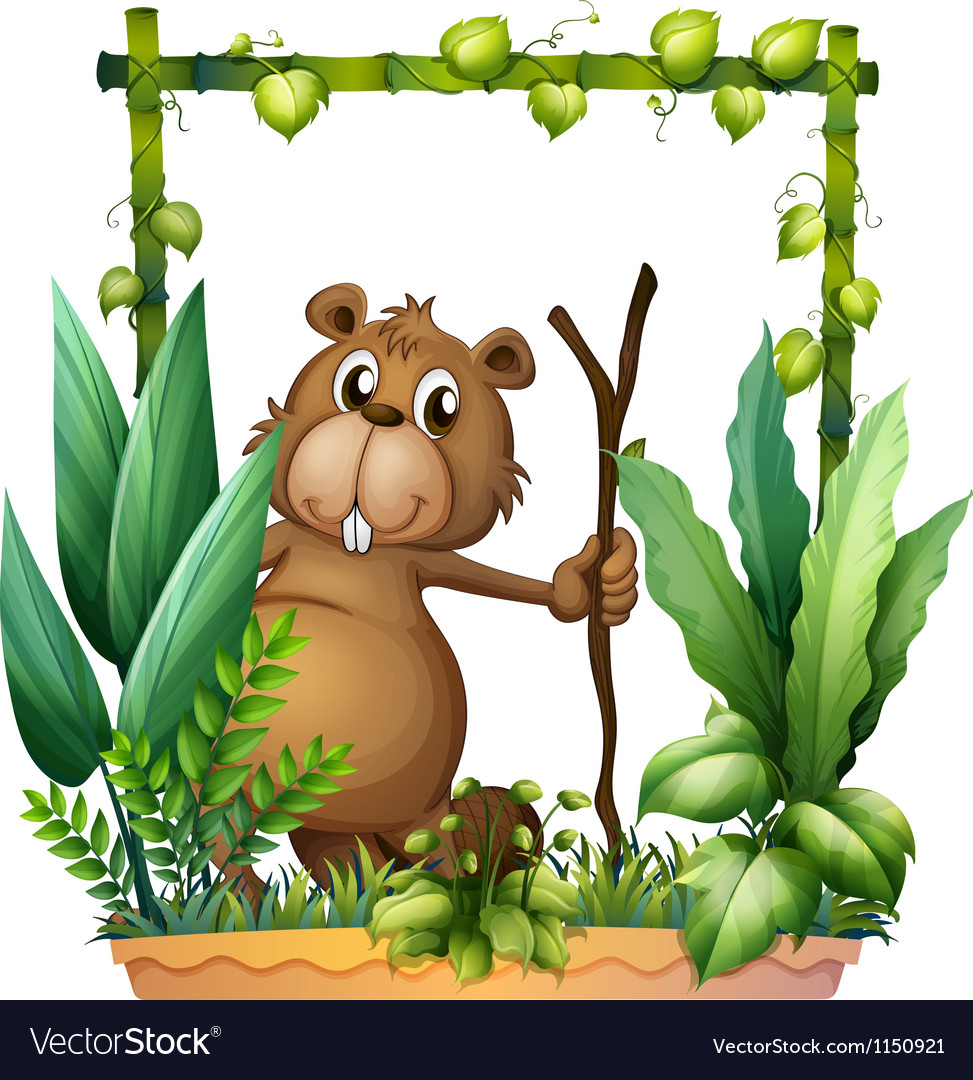 A beaver holding a wood vector | Price: 1 Credit (USD $1)
