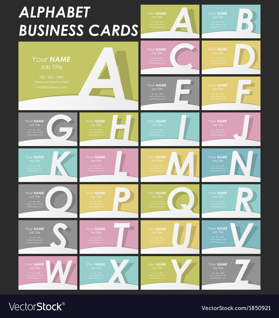 Alphabet business cards collection vector | Price: 1 Credit (USD $1)