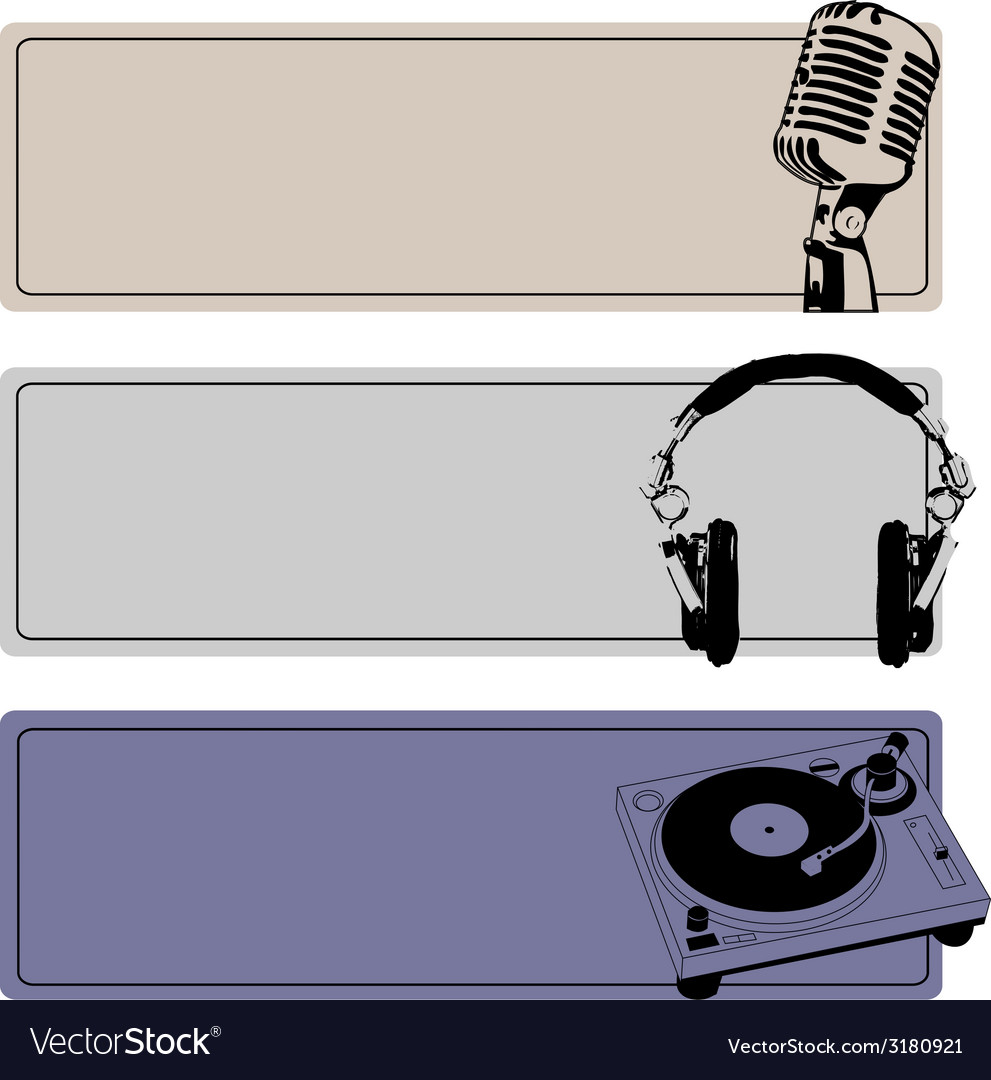 Dj banners set vector | Price: 1 Credit (USD $1)