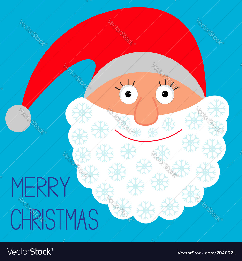 Face of santa claus snowflakes merry christmas vector | Price: 1 Credit (USD $1)