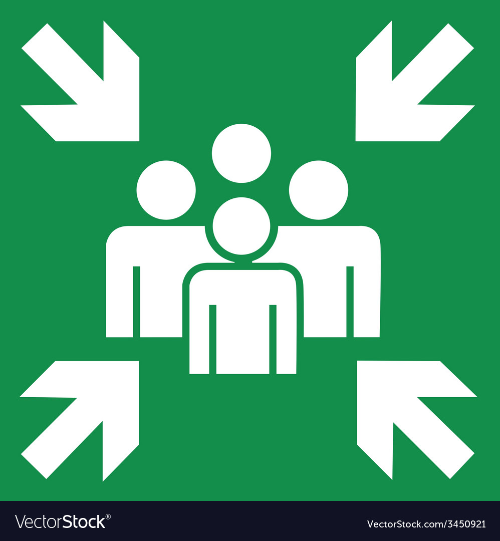Fire evacuation meeting point sign vector | Price: 1 Credit (USD $1)