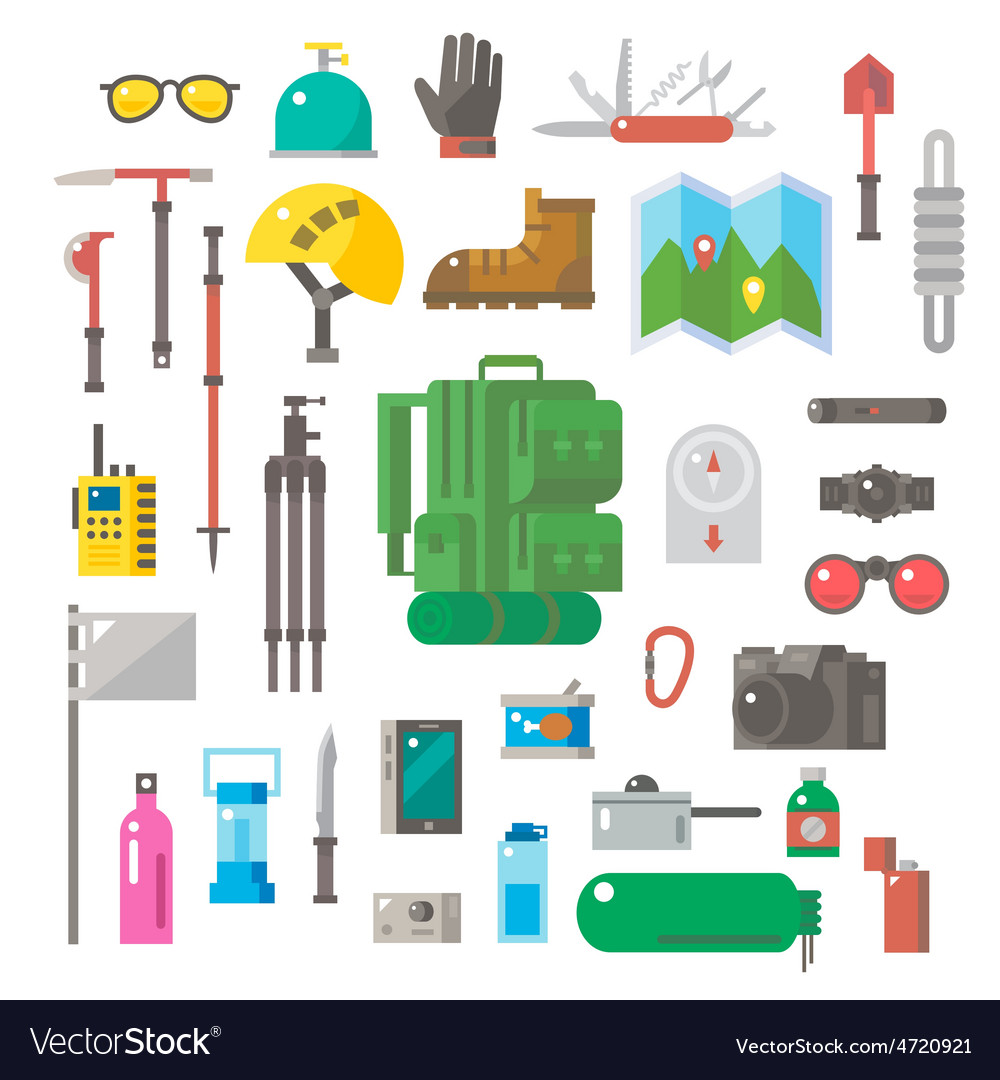 Flat design of hiking equipment set vector | Price: 1 Credit (USD $1)