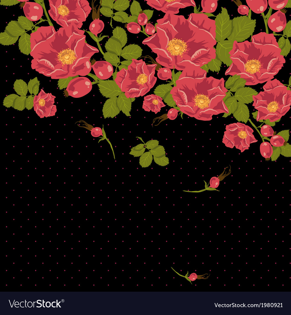 Floral ornament with wild rose on a polka dot vector | Price: 1 Credit (USD $1)