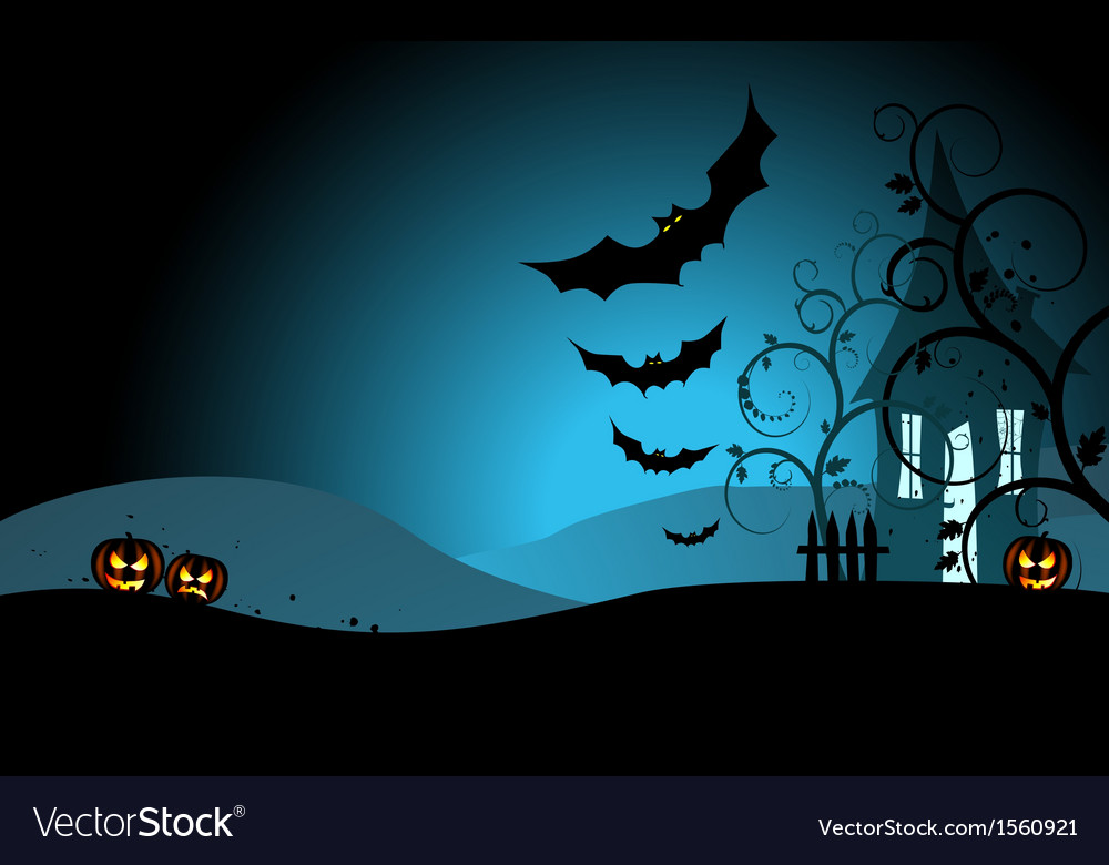 Halloween background with the scary house and bats vector | Price: 1 Credit (USD $1)