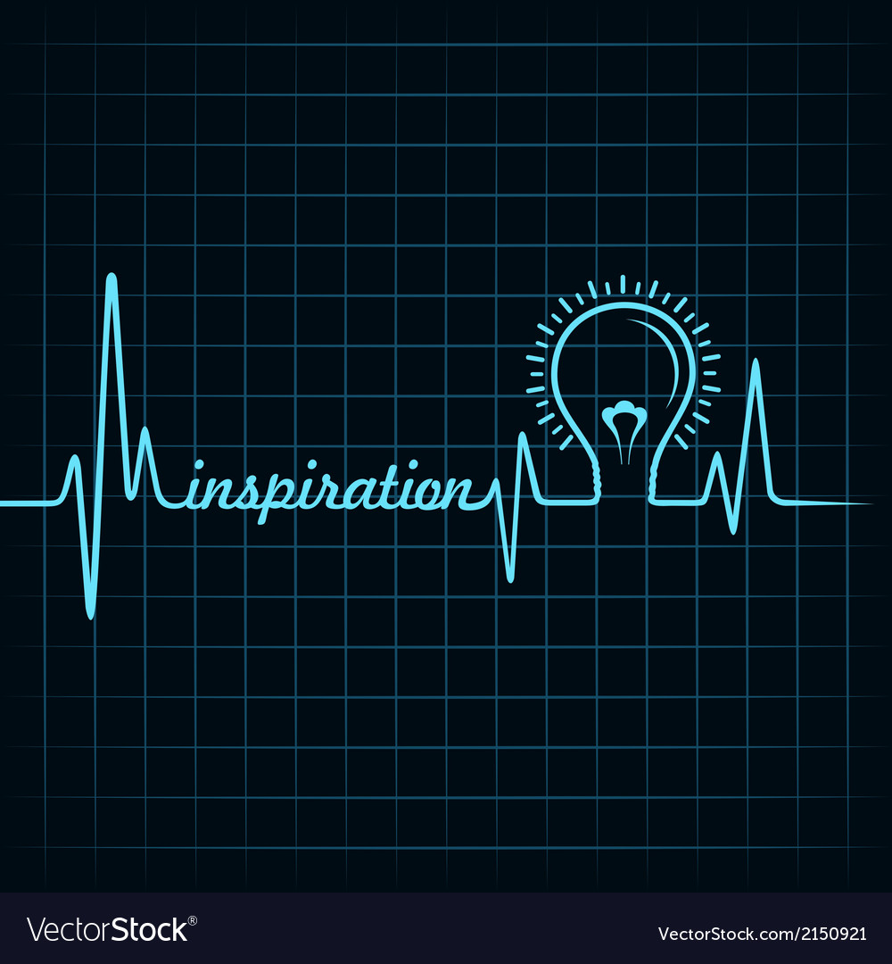 Heartbeat make inspiration word and light-bulb vector | Price: 1 Credit (USD $1)