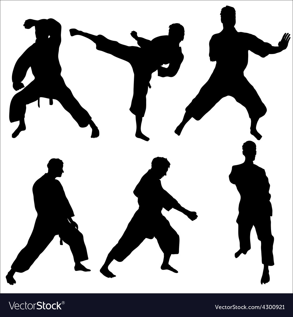 Karate pose sihouettes vector | Price: 1 Credit (USD $1)