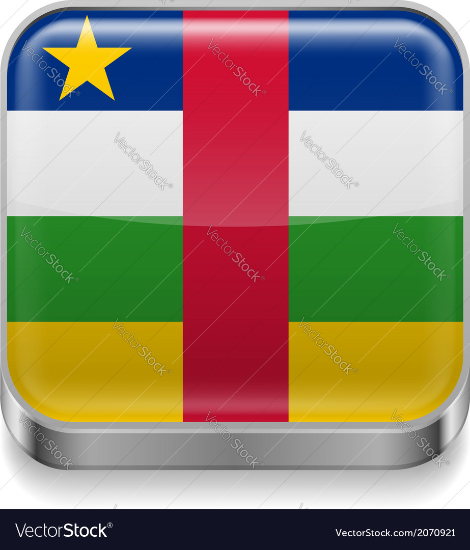 Metal icon of central african republic vector | Price: 1 Credit (USD $1)
