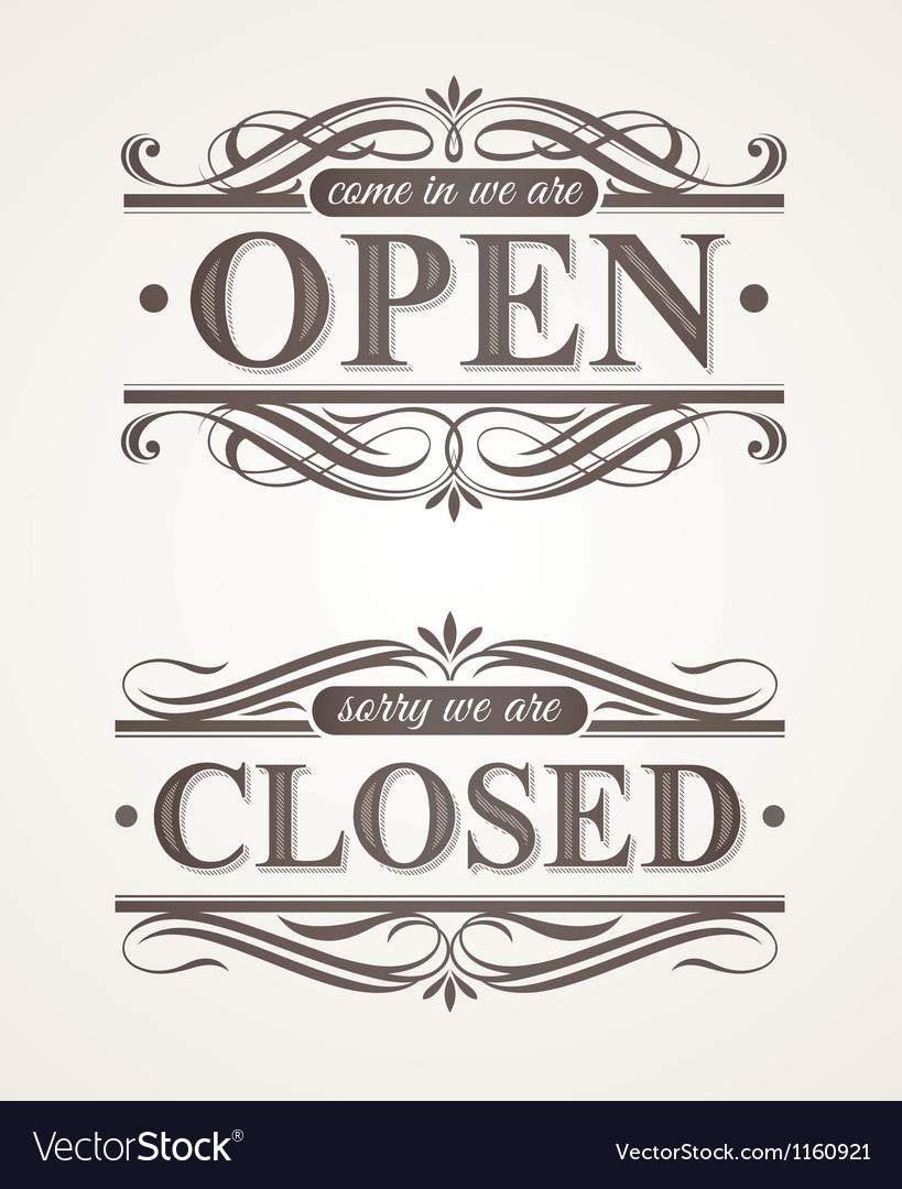 Open and closed - ornate retro signs vector | Price: 1 Credit (USD $1)