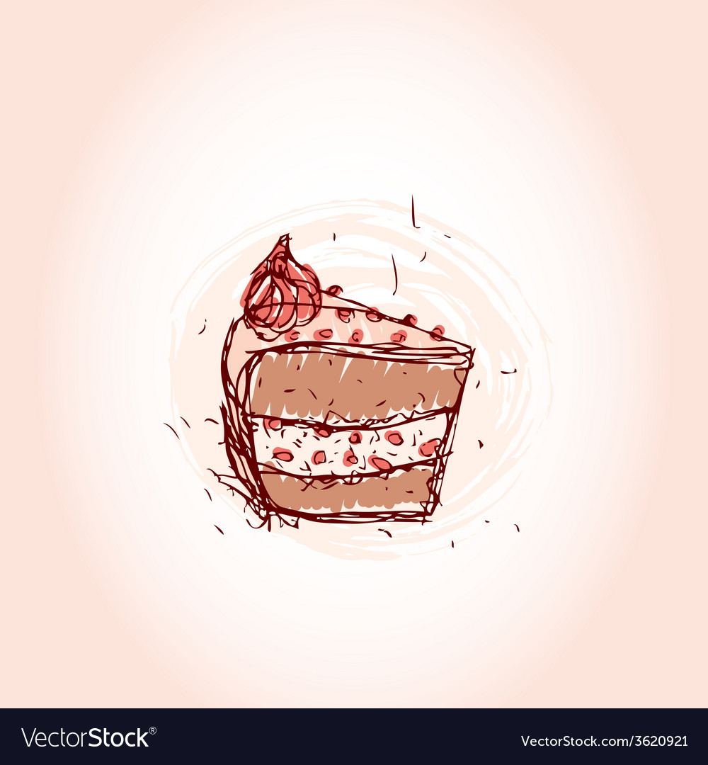 Piece of chocolate cake hand drawn sketch on pink vector | Price: 1 Credit (USD $1)