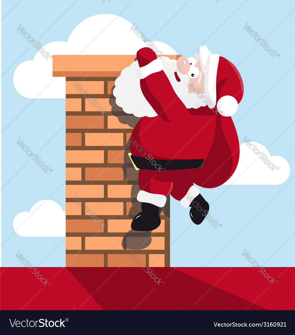 Santa hanging on the chimney vector | Price: 1 Credit (USD $1)