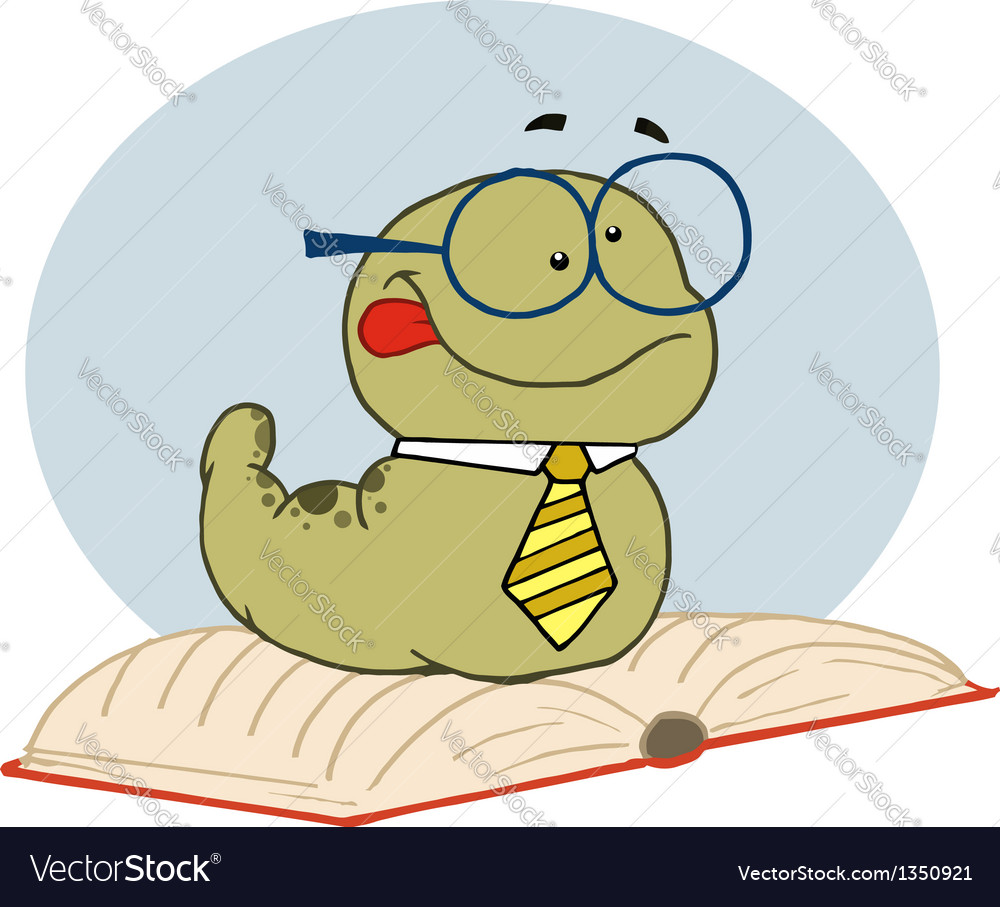 Smart old worm wearing a tie and glasses vector | Price: 1 Credit (USD $1)