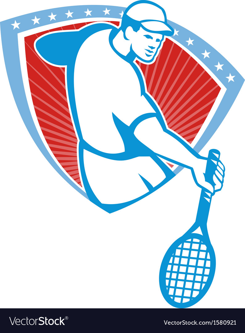 Tennis player racquet shield retro vector | Price: 1 Credit (USD $1)