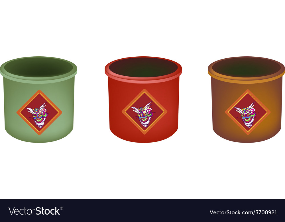 Three brass joss stick pots on white background vector | Price: 1 Credit (USD $1)