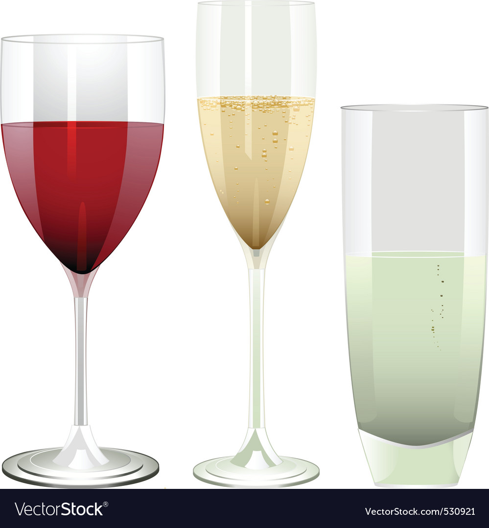 Wine champagne and water glasses on a white backgr vector | Price: 1 Credit (USD $1)