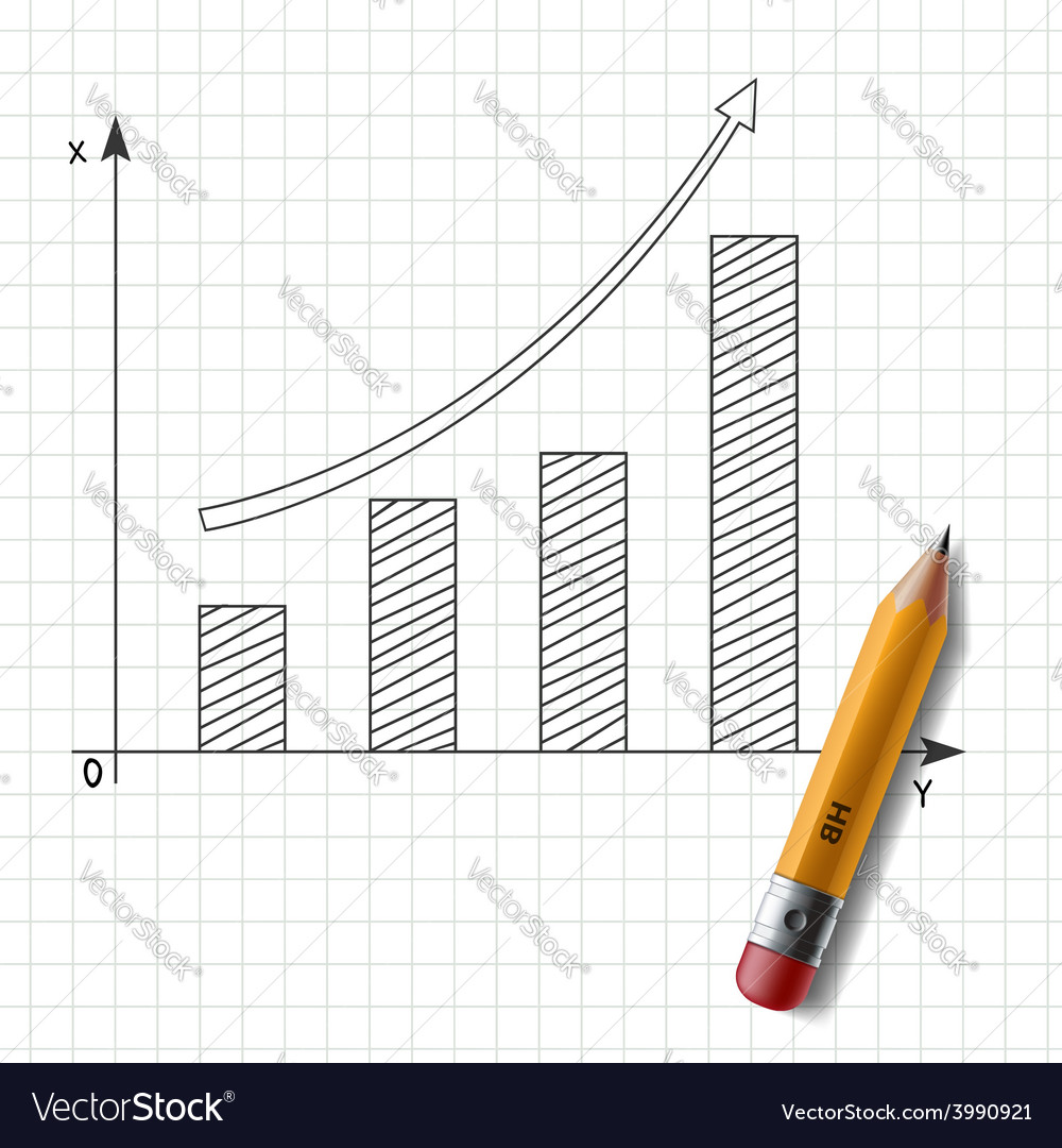 Wooden pencil and graph drawn on a sheet of vector | Price: 1 Credit (USD $1)