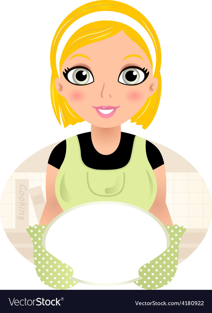 Beautiful cooking girl holding plate vector | Price: 1 Credit (USD $1)