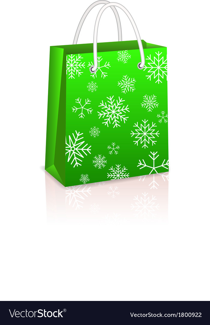 Christmas creen shopping bag vector | Price: 1 Credit (USD $1)