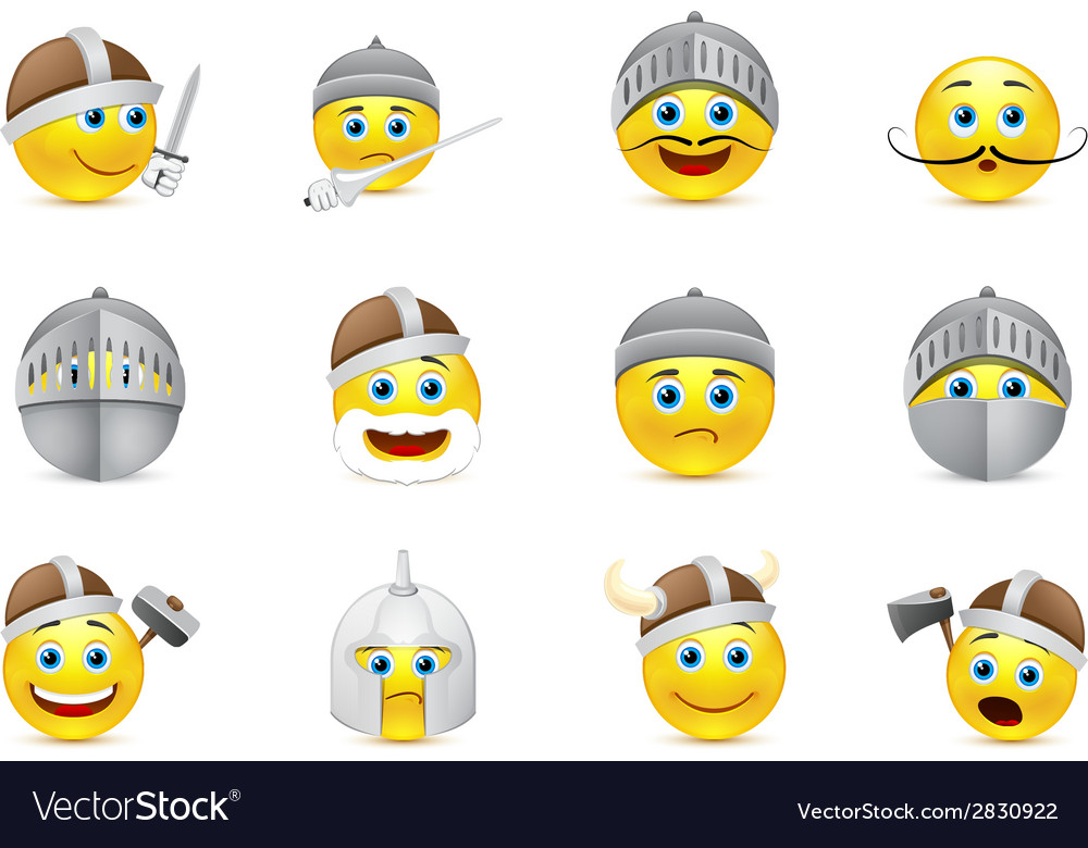 Collection of knights emoticons vector | Price: 1 Credit (USD $1)