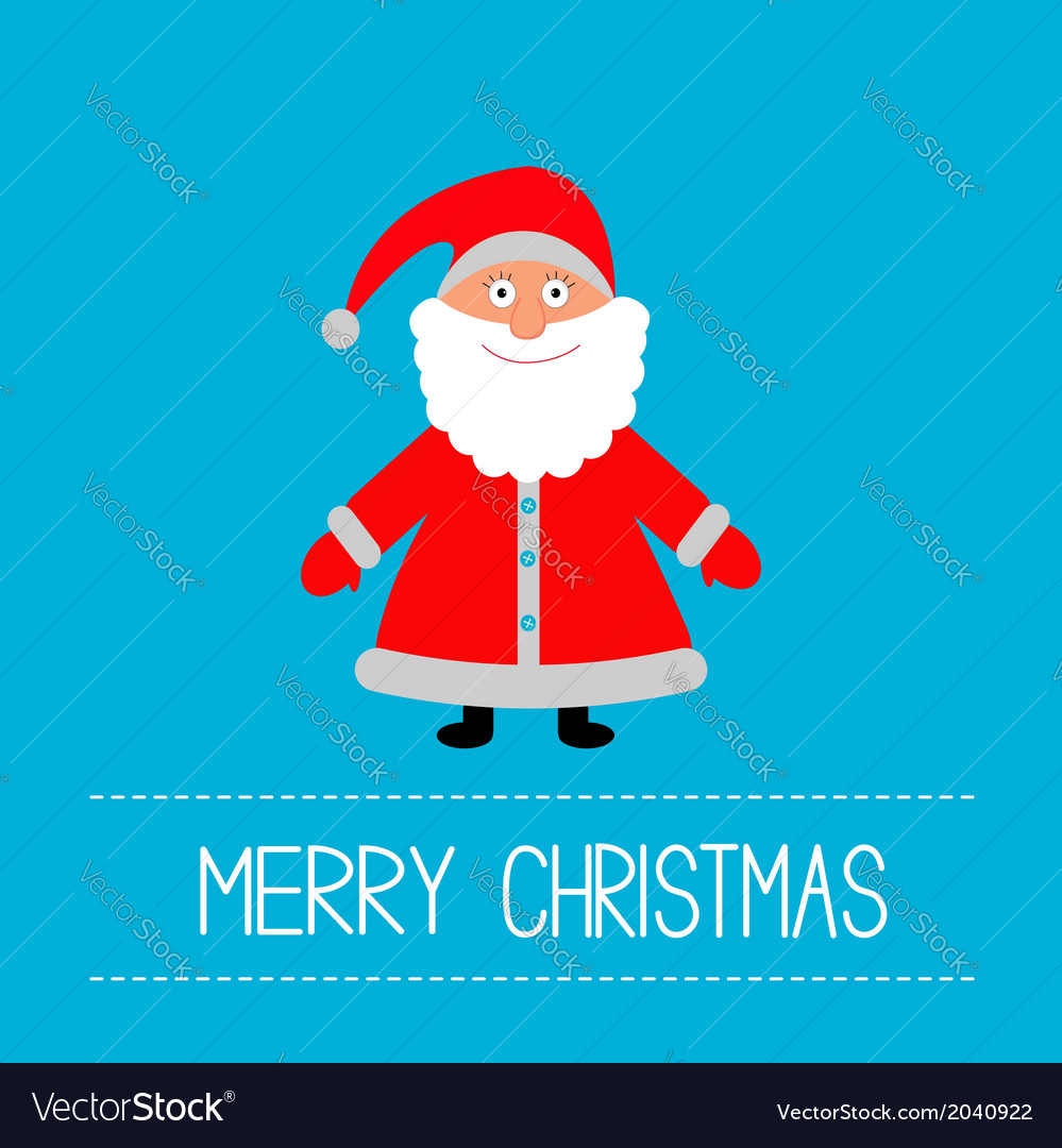 Cute santa claus blue background merry christmas vector | Price: 1 Credit (USD $1)