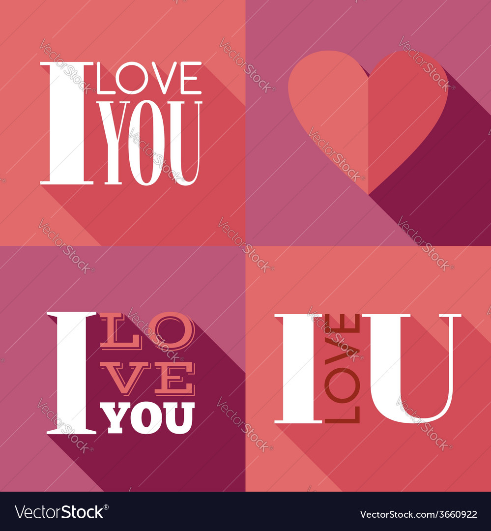 Flat lettering i love you vector | Price: 1 Credit (USD $1)