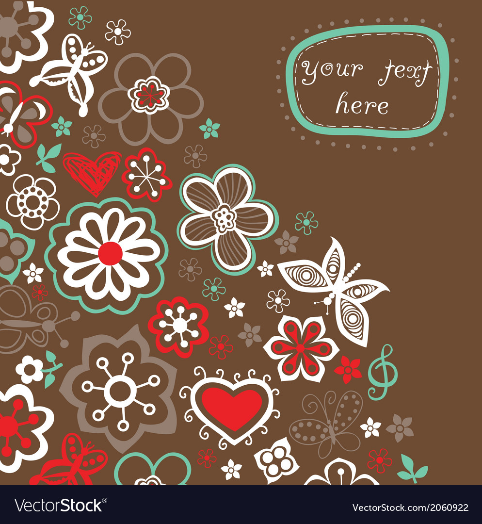 Floral background summer theme greeting card vector | Price: 1 Credit (USD $1)