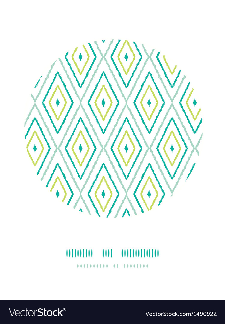 Green ikat diamonds frame circle decor patterns vector | Price: 1 Credit (USD $1)