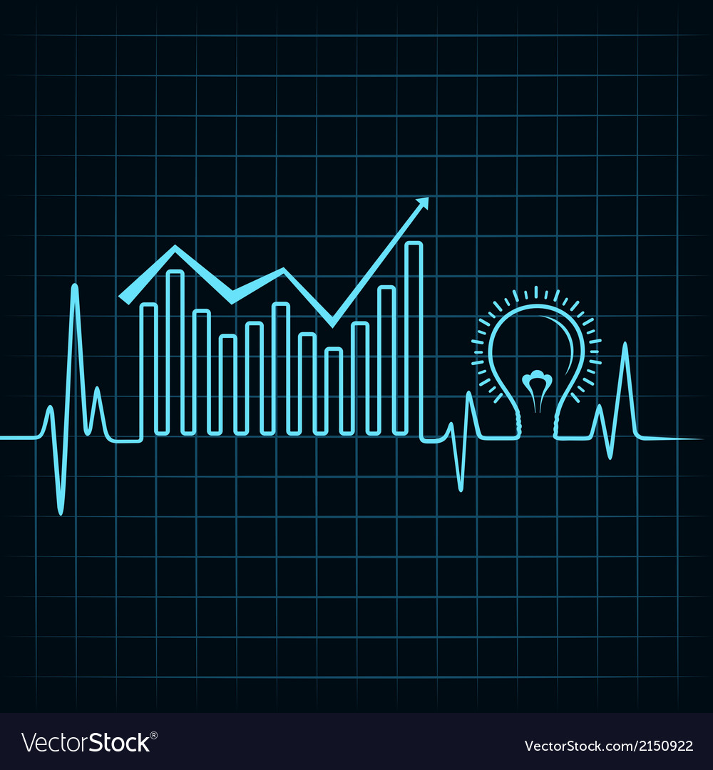 Heartbeat make business graph and light-bulb vector | Price: 1 Credit (USD $1)