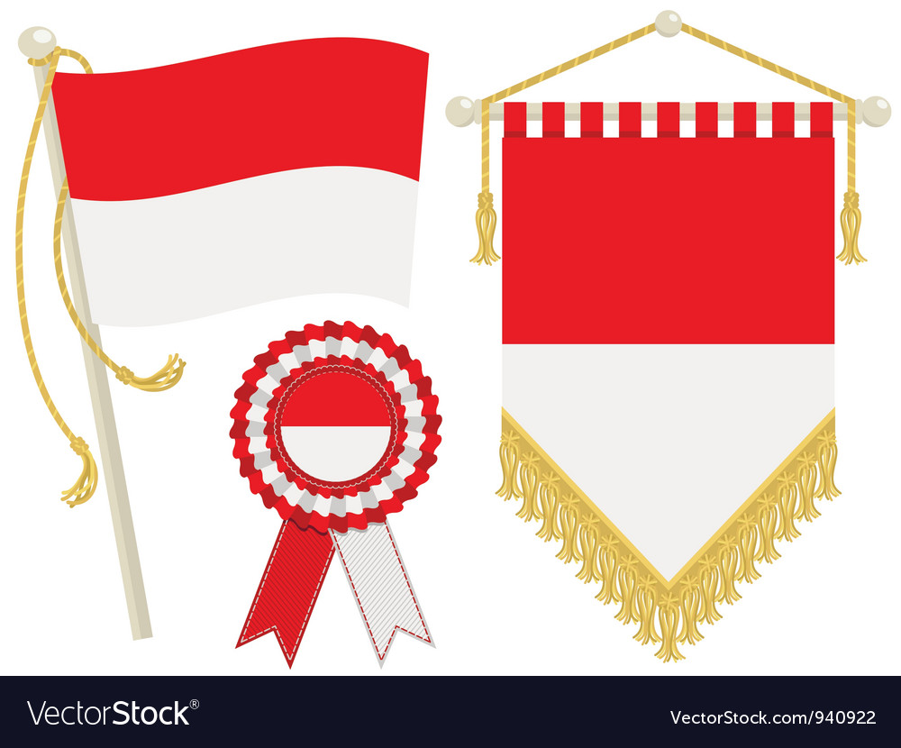Indonesia flags vector | Price: 1 Credit (USD $1)