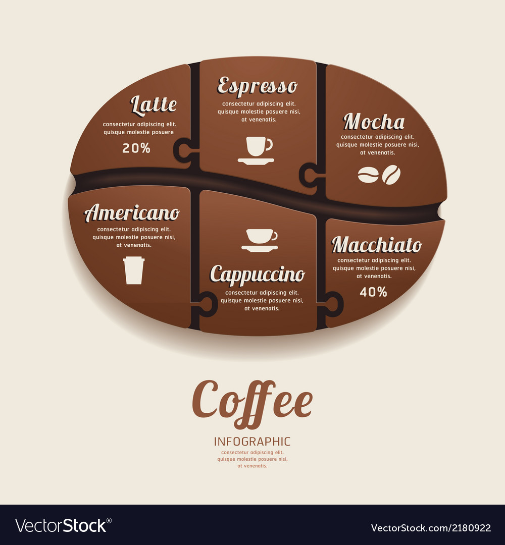 Infographic template with coffee bean jigsaw vector | Price: 1 Credit (USD $1)