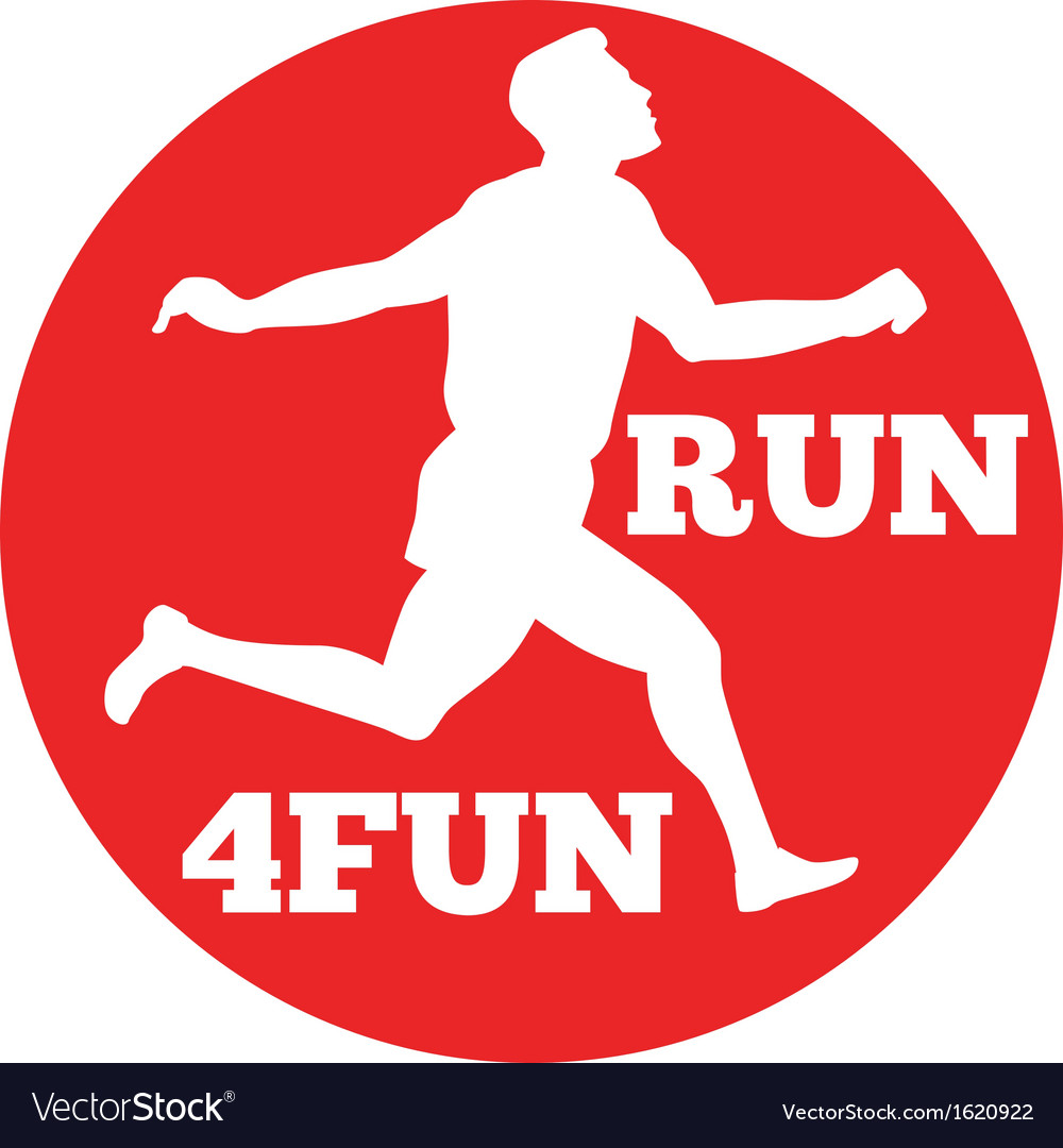 Marathon runner run 4fun race vector | Price: 1 Credit (USD $1)