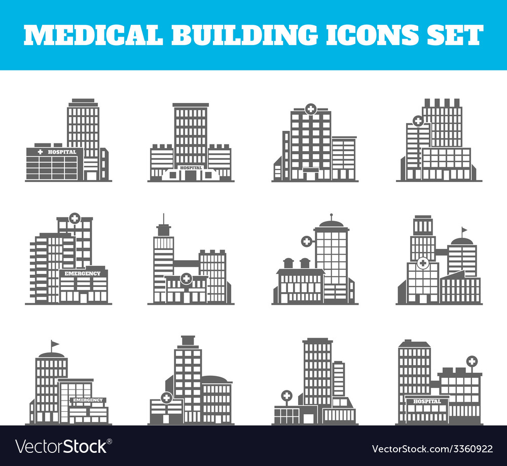Medical building black vector | Price: 1 Credit (USD $1)