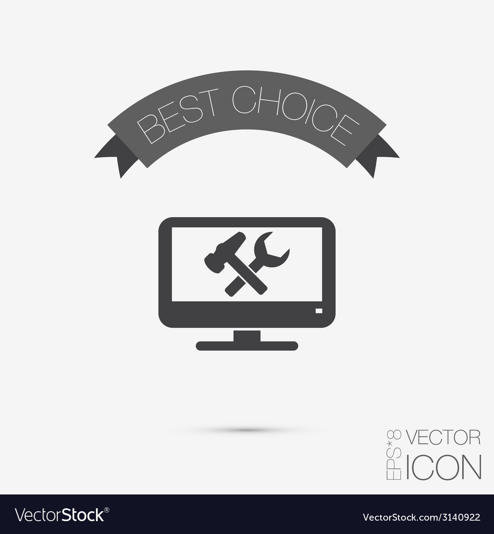Monitor symbol settings icon computer settings vector | Price: 1 Credit (USD $1)