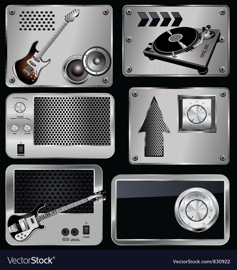 Music metallic banner vector | Price: 3 Credit (USD $3)