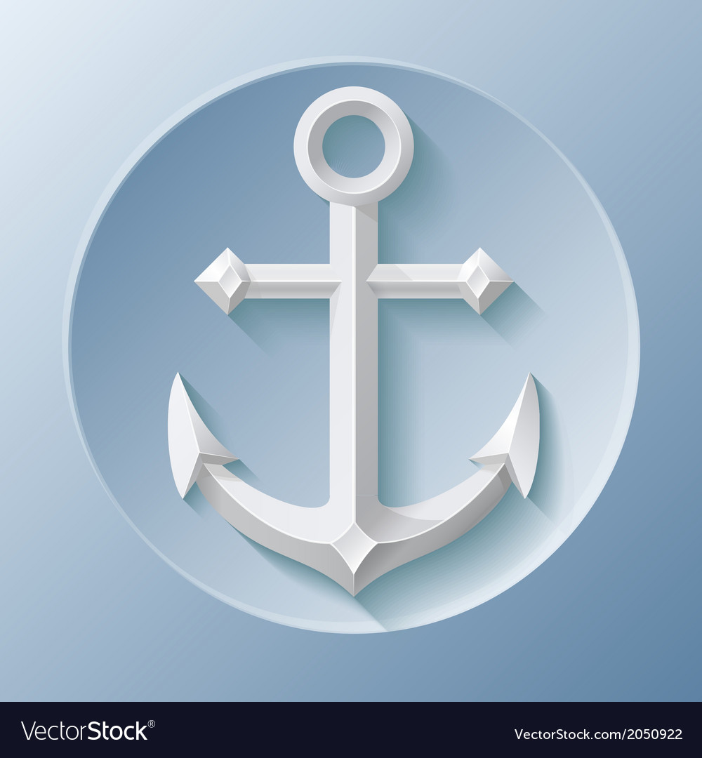 Nice anchor icon with shadow on blue vector | Price: 1 Credit (USD $1)