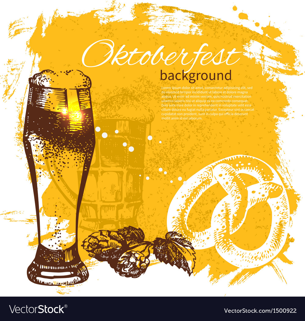 Oktoberfest vintage background vector   Price: 1 Credit (USD $1)