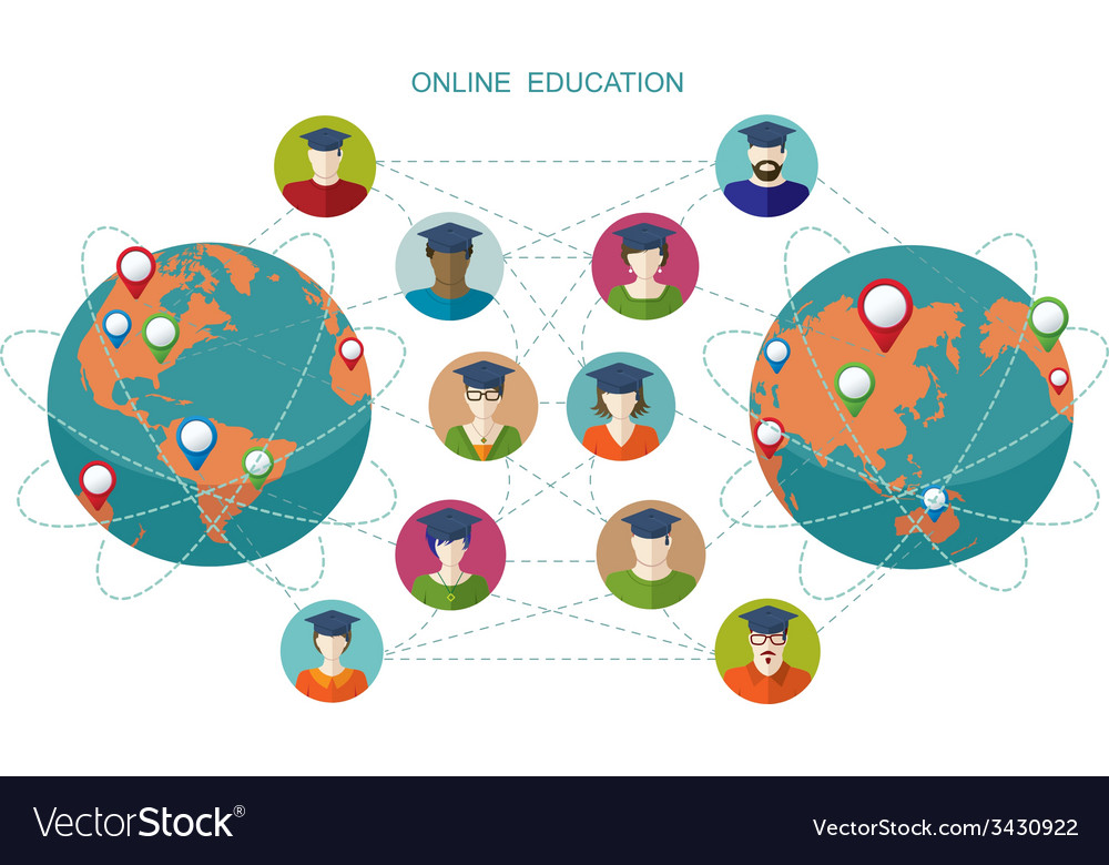 Online learning conceptual banner people flat icon vector | Price: 1 Credit (USD $1)