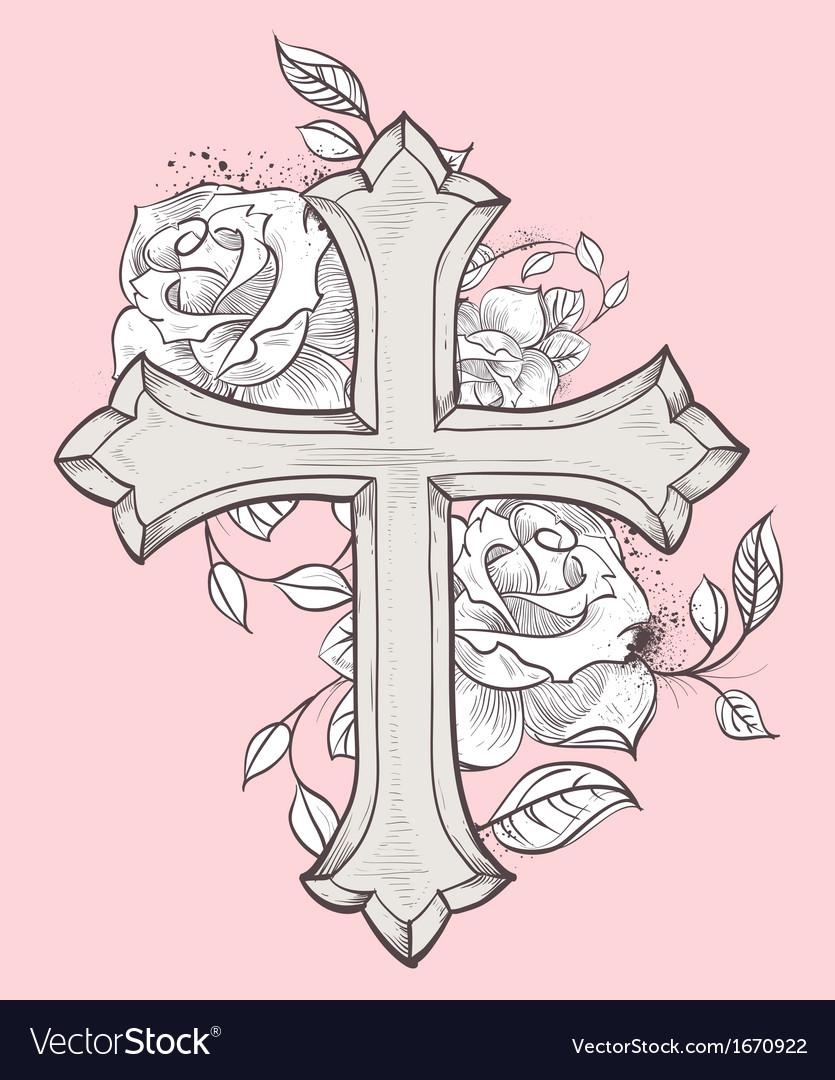 Rose croix vector | Price: 1 Credit (USD $1)