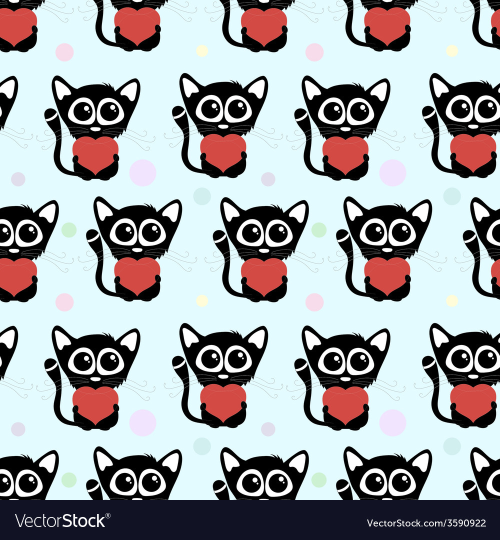 Seamless pattern cute cats with hearts vector | Price: 1 Credit (USD $1)